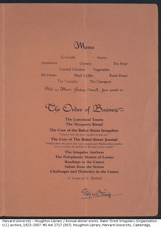 Interior page of the 1948 BSI Dinner menu