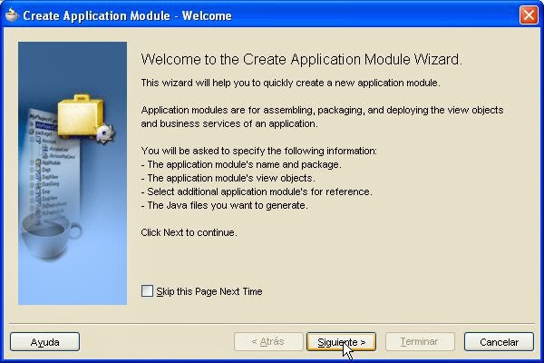 asistente creacion application module