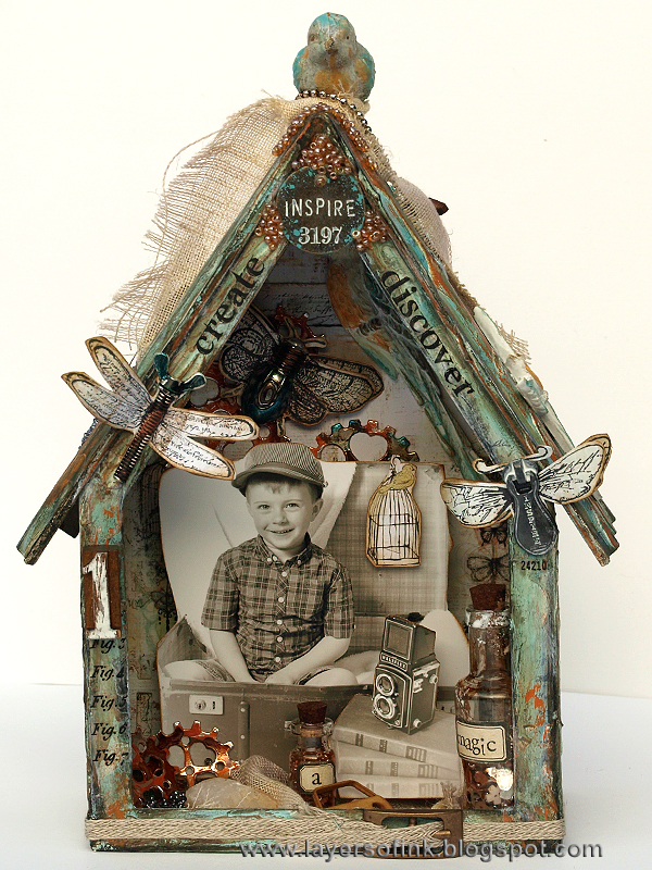 Layers of ink - 3D Bird House tutorial by Anna-Karin