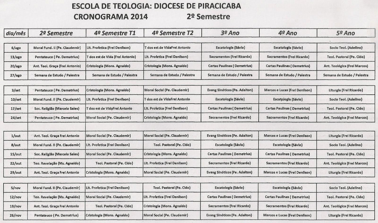 CRONOGRAMA DAS AULAS - 2º SEMESTRE 2014: