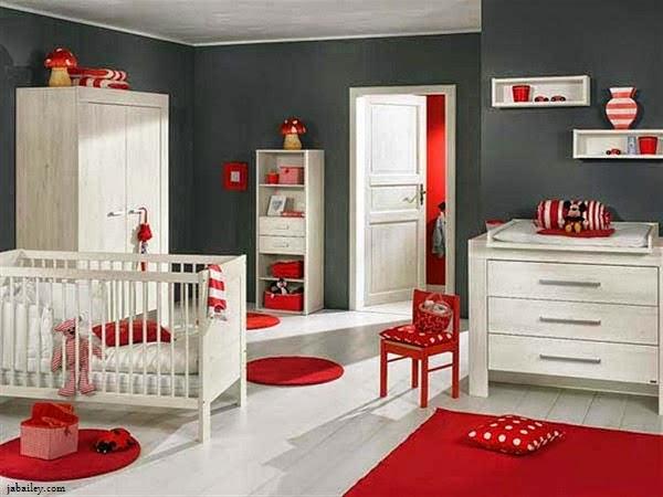 Chambre bébé rouge et blanc