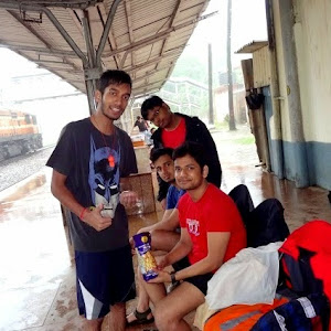 Trekking group taking rest at Kulem railway station