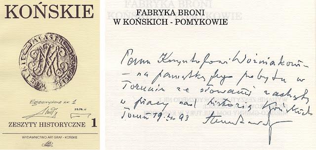 Pierwsza strona egz. nr 1 Zeszytu Historycznego z podpisami wydawców oraz stronę z dedykacją autora Henryka Seweryna Zawadzkiego.