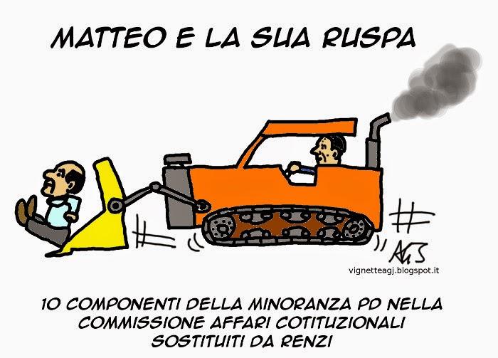 ruspe, minoranza pd, italicum, satira, vignetta