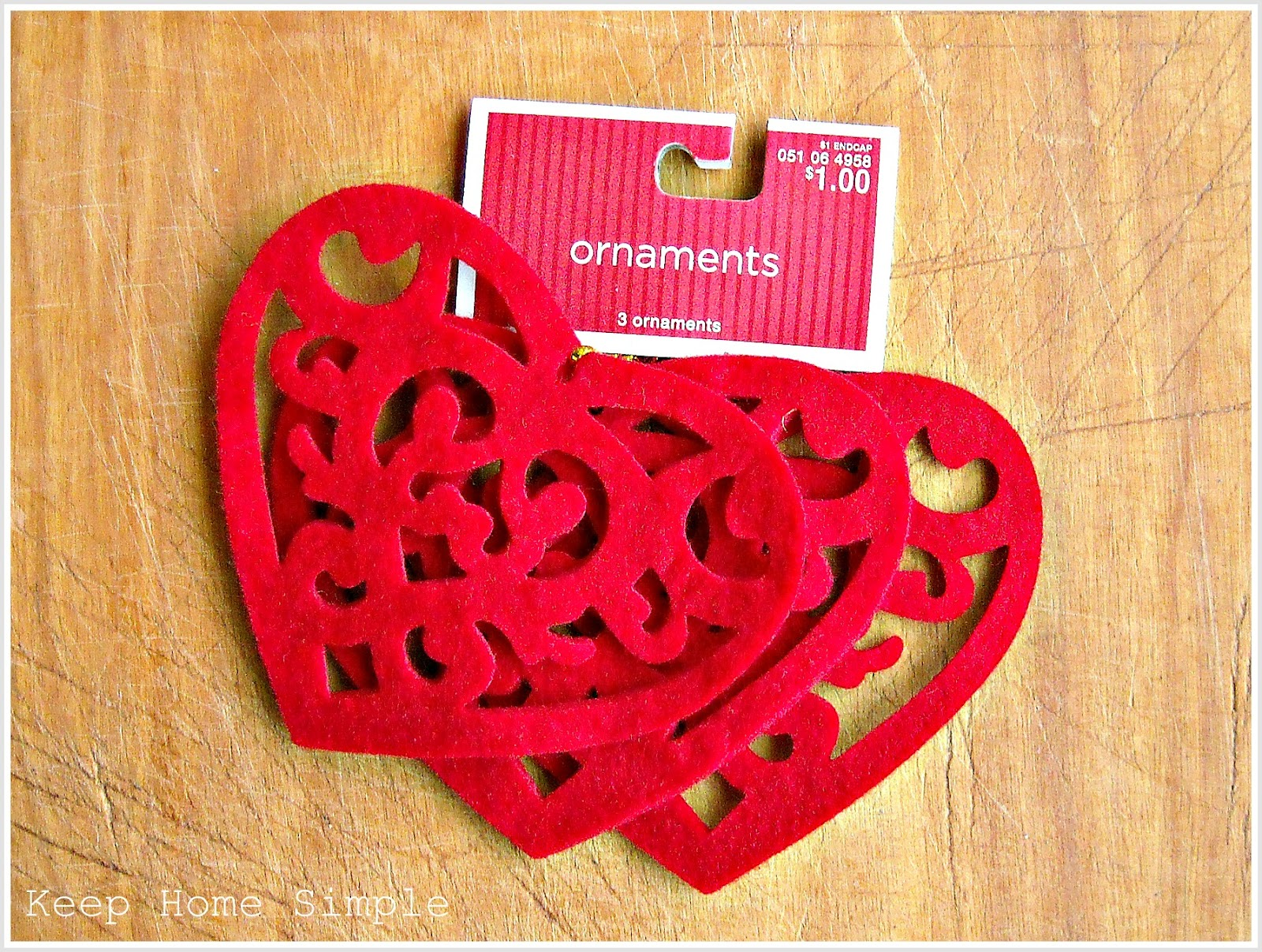 Christmas Ornaments Turned Valentine Garland