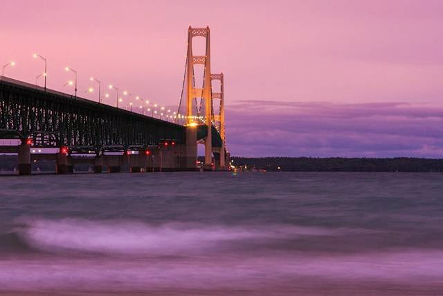 United States. Mackinac Bridge. The main span - 1158 m.