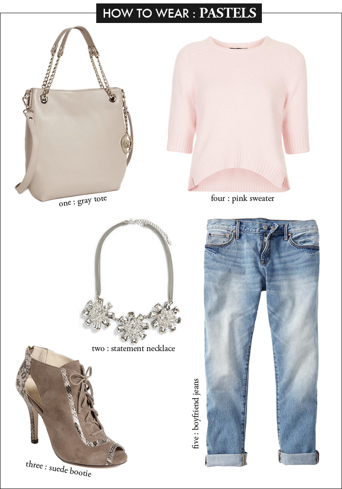 boyfriend jeans, pink crop sweater, statement necklace, MK bag, how to wear pastels