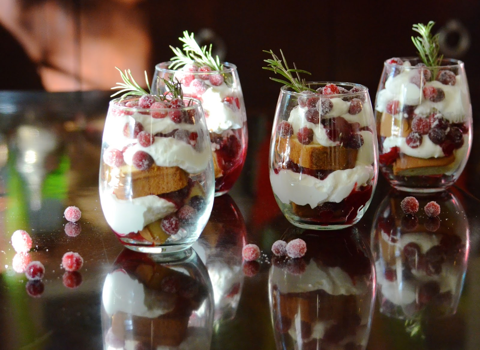 Cranberry Orange Trifle Sugared Cranberries holiday dessert