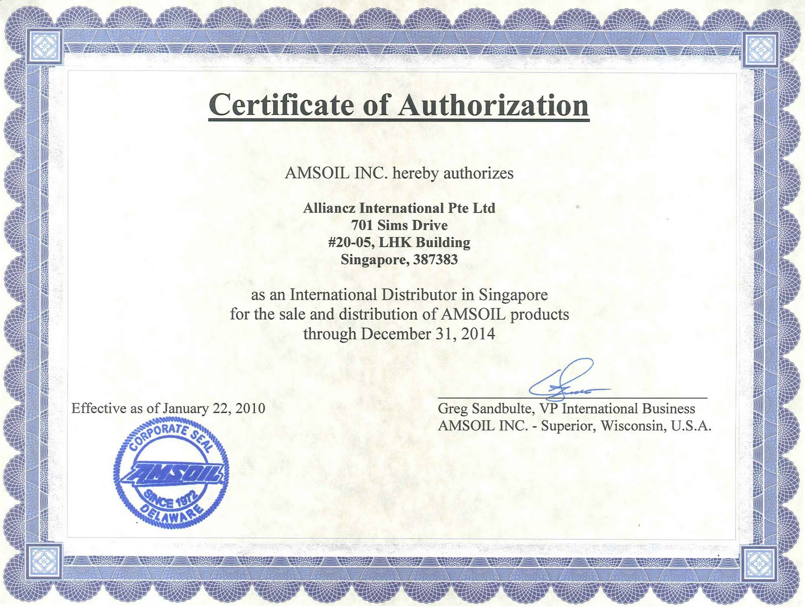 AMSOIL   Official Distributor Notice  Official Certificate Template