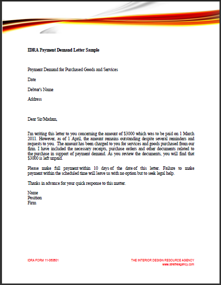 Sample Business Letter Demand Payment