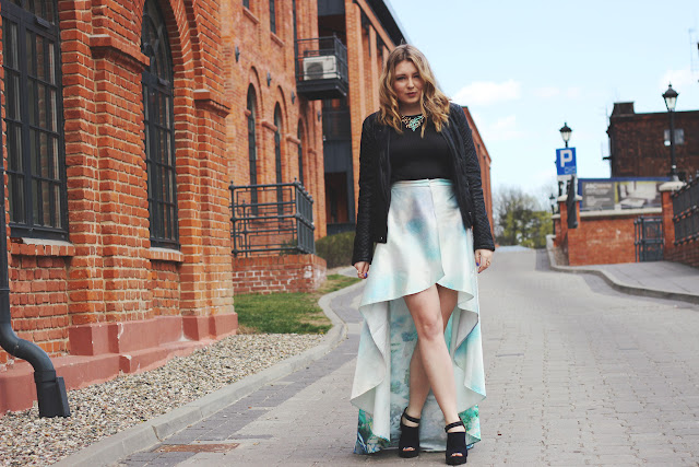 Rixa Weilandt, lederjacke, steve madden, train skirt, designer, blogger, hamburg, germany, fashion week, poland, biou brigitte, kette, koralle, mint