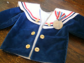 Vintage velvet teddy coat with medal