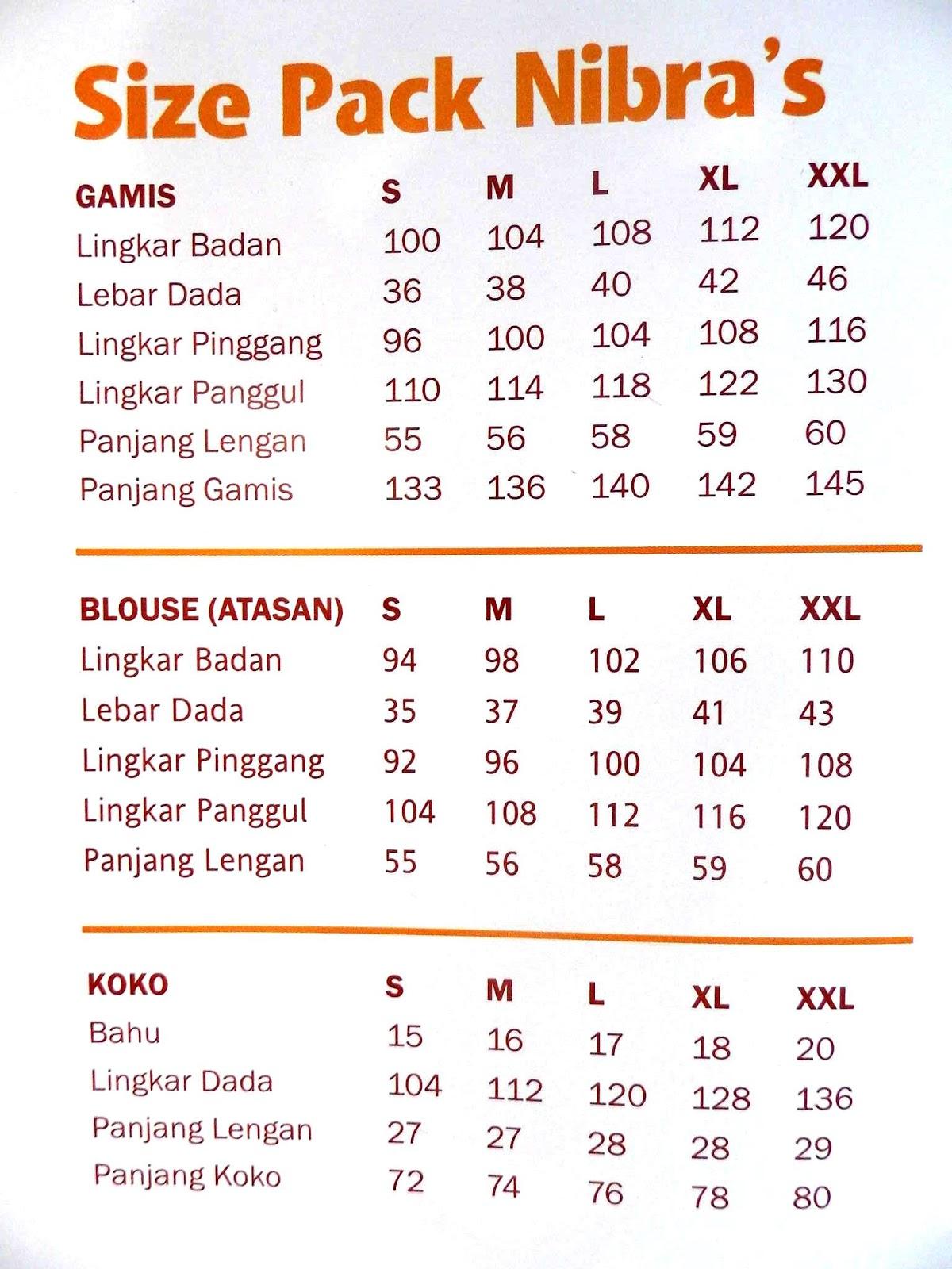 Jual Baju Gamis Muslim Nibras Fashion Collection Terbaru Size Chart