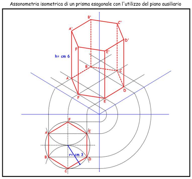 Tecnologia assonometria isometrica con piano ausiliario for Piani di casa ottagono