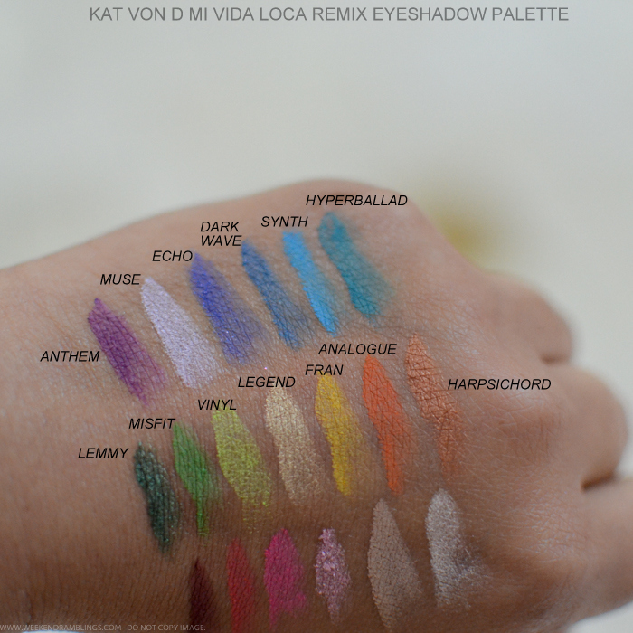Kat Von D Mi Vida Loca Remix Eyeshadow Palette Swatches Anthem Muse echo Dark wave Synth Hyperballad Lemmmy Misfit Vinyl Legend Fran Anlogue Harpischord