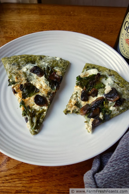 Spicy Kale Pizza Dough with Mushrooms and Cheese | Farm Fresh Feasts