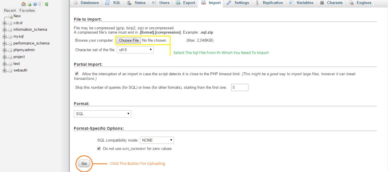 Uploading Sql File to PhpMyAdmin