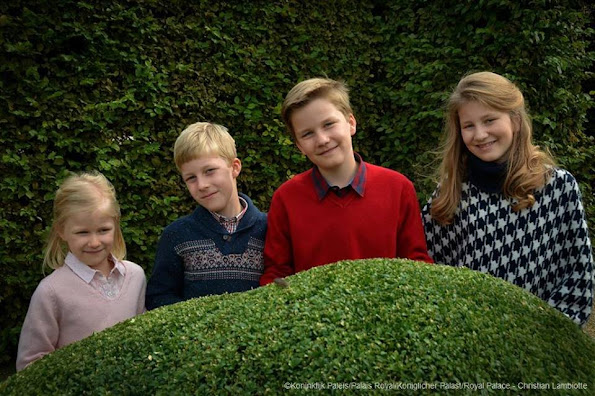 Crown Princess Elisabeth, Prince Gabriel, Prince Emmanuel and Princess Eleanor.