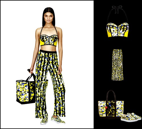 PETER PILOTTO for Target Bikini Top in Green Floral Print, Pant in Green Floral Stripe Print, Tote in Green Floral Print, Slip-On Shoe in Green Floral Print