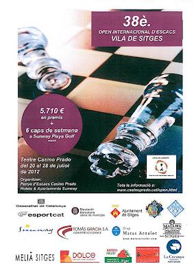 Cartel del 38º Torneo abierto de ajedrez de Sitges