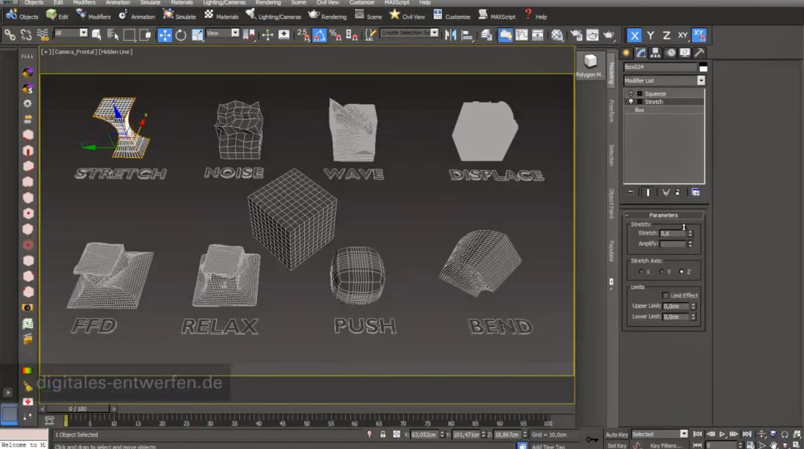Parametric modifier in 3ds max cg tutorial for 3ds max design