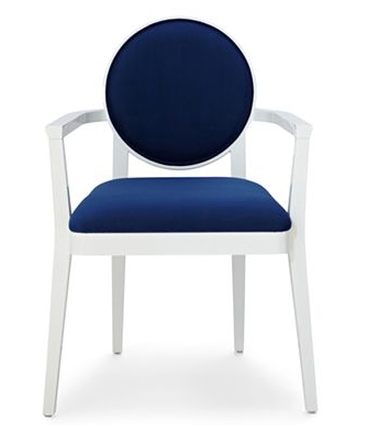 white and blue chair by Jonathan Adler