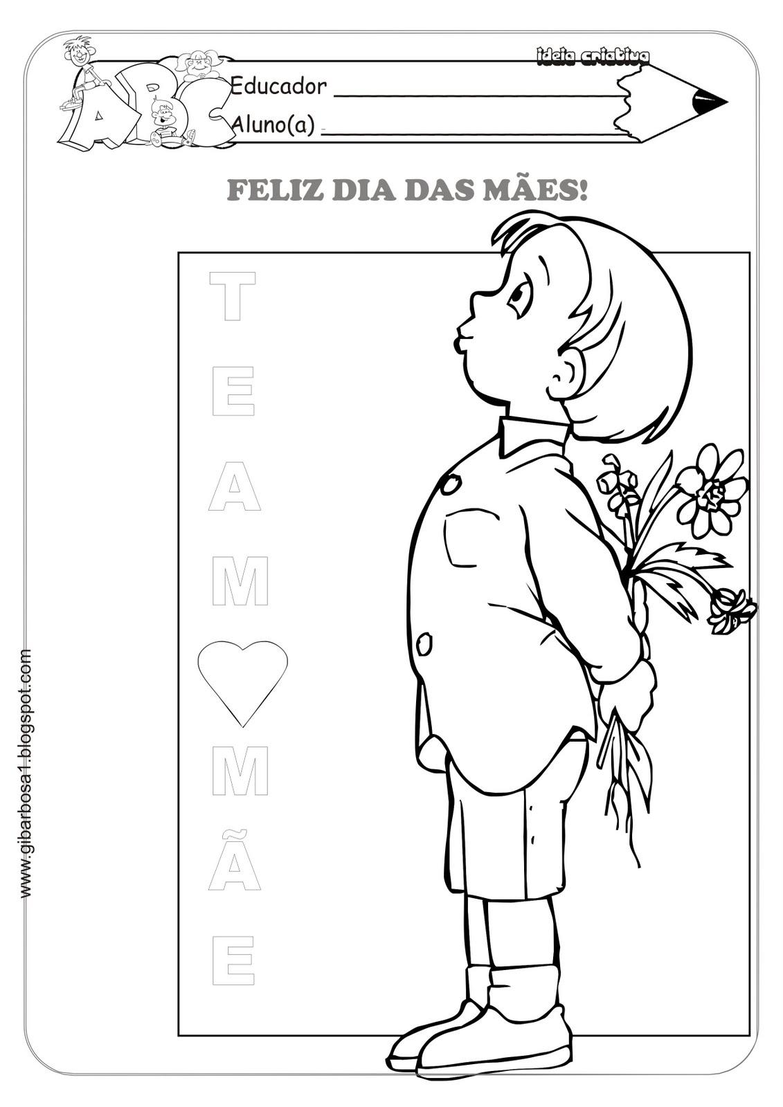 Atividade dia das Mães Menino com Flor e Frase Eu Te Amo