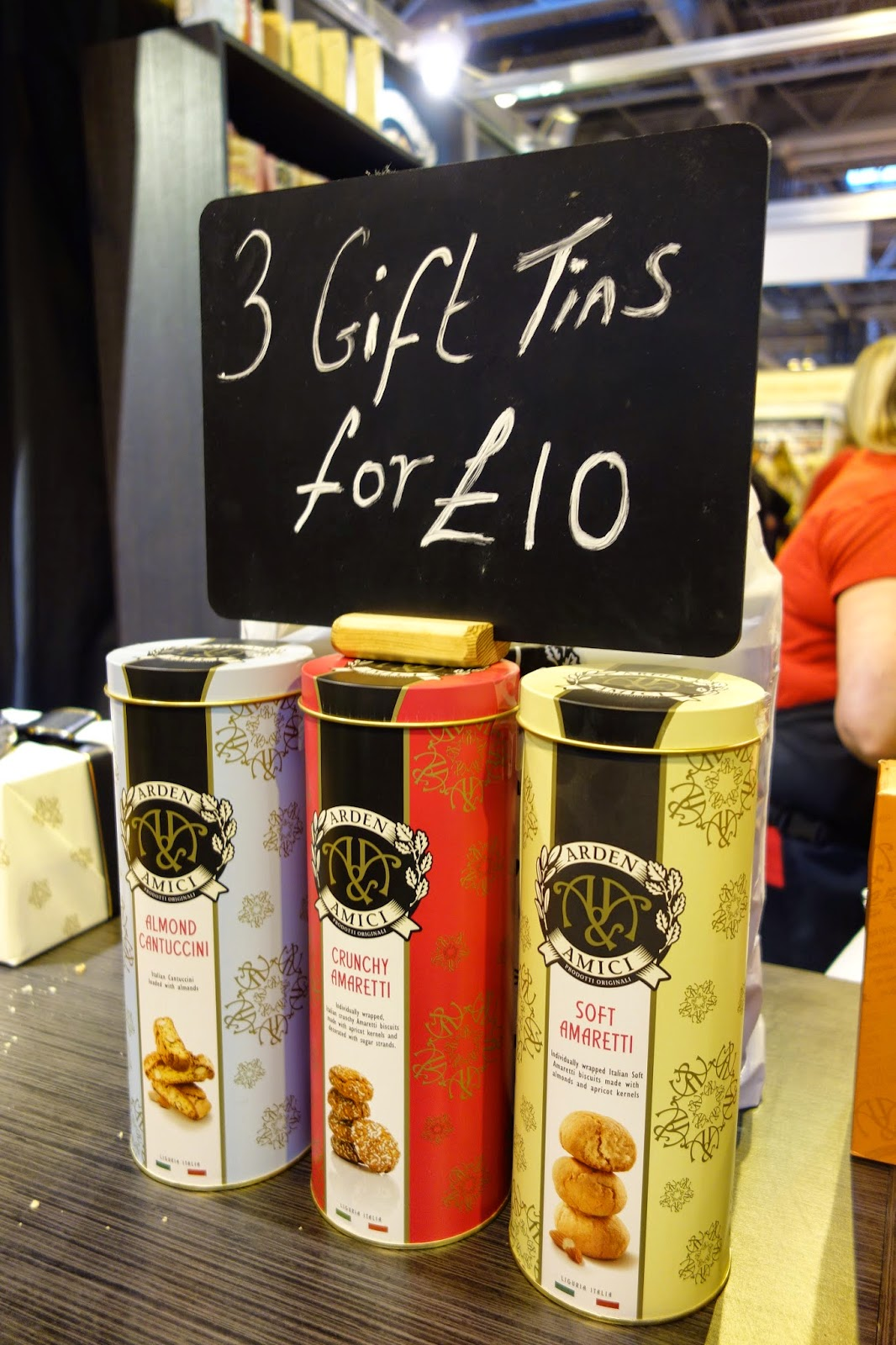 3 for £10 tins of Amaretti - gift ideas on display