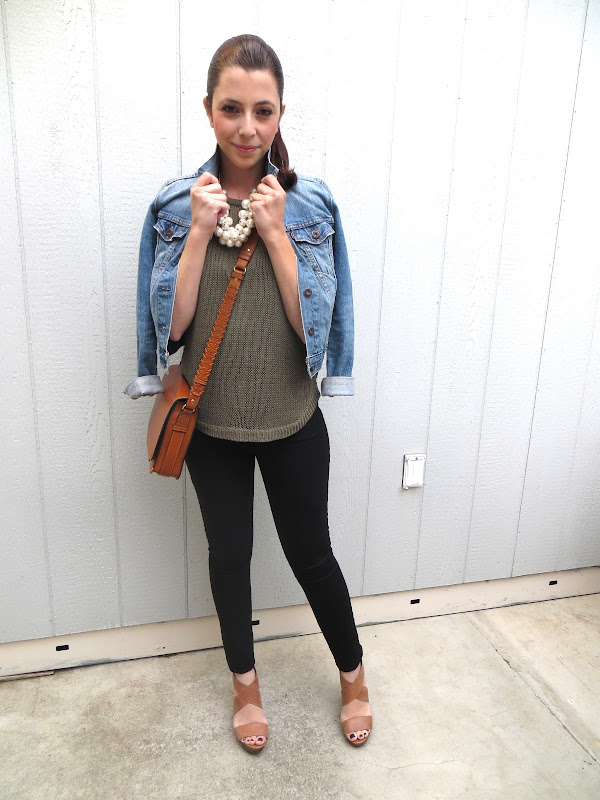 Sweater - H&M (Similar styles here, here, here, or here) ; Jeans - Gap  (Exact one here) ; Denim Jacket - Urban Outfitters (Similar style here or  here) ... - Coast With Me:.And I'm Wearing Olive Green. Again.