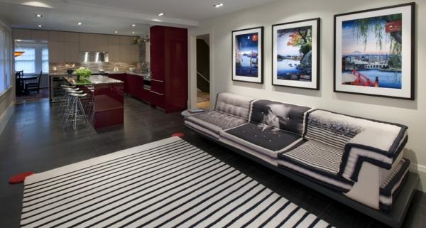 Dapur modern dan ruang keluarga dalam satu ruangan