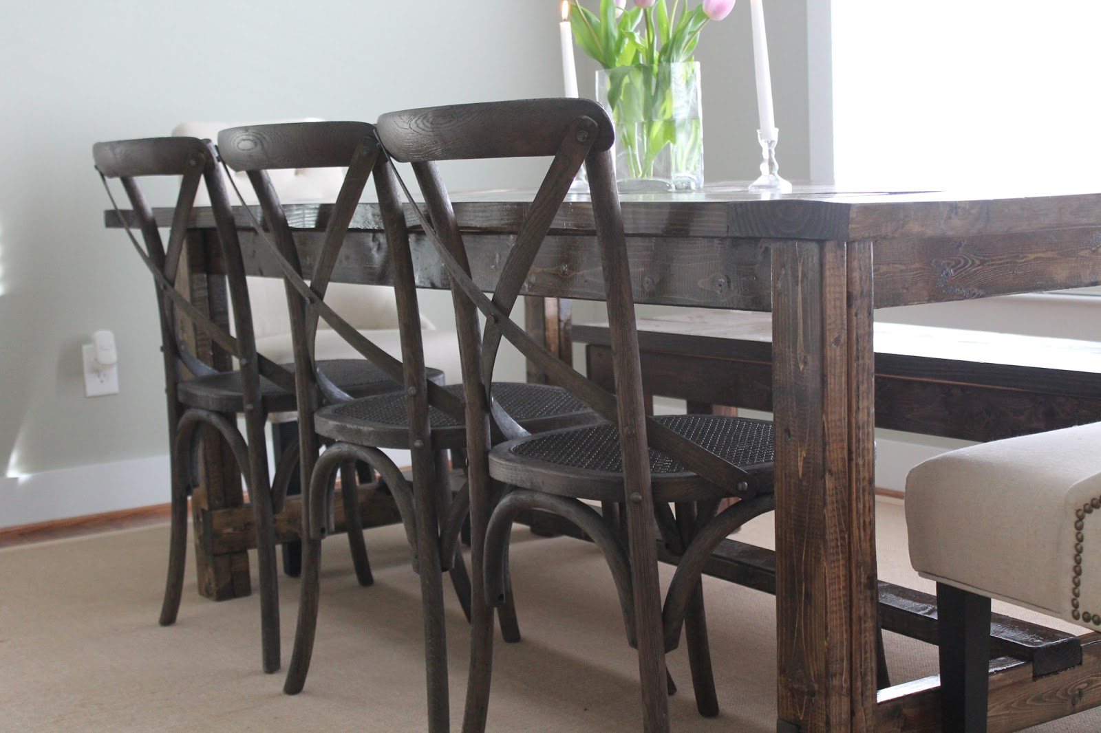 Farmhouse table restoration hardware - It Took Us Months To Find And Agree On The Perfect Chairs And Then We Waited For Them To Go On Sale On One Side We Added 3 Madeleine Side Chairs From