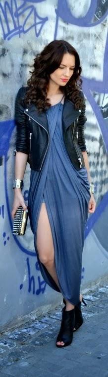 Stylish Slate Blue Long Dress With Black Leather Jacket