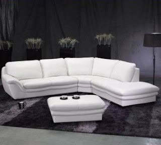 TOSH Furniture White Leather Sectional Sofa and Ottoman