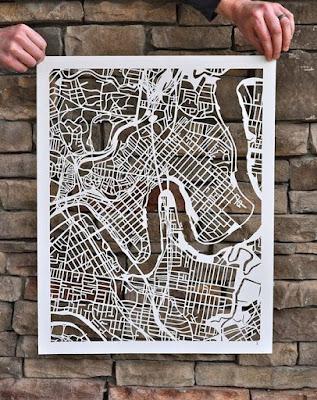 Mapa de Brisbane em papel recortado