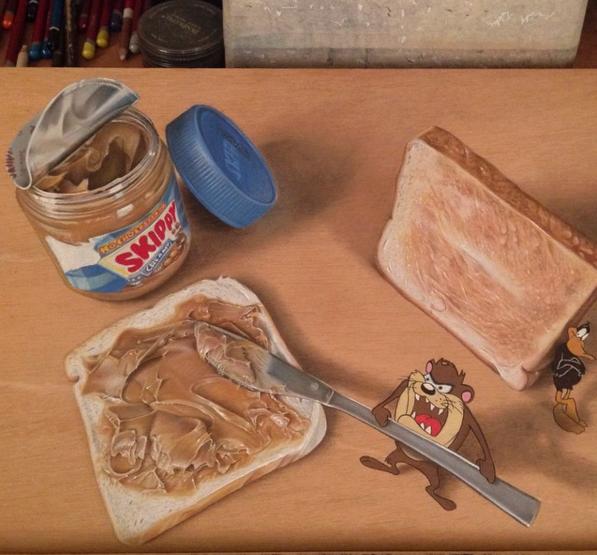 Lukisan 3Dimensi Nutella Tazmania oleh Ivan Hoo
