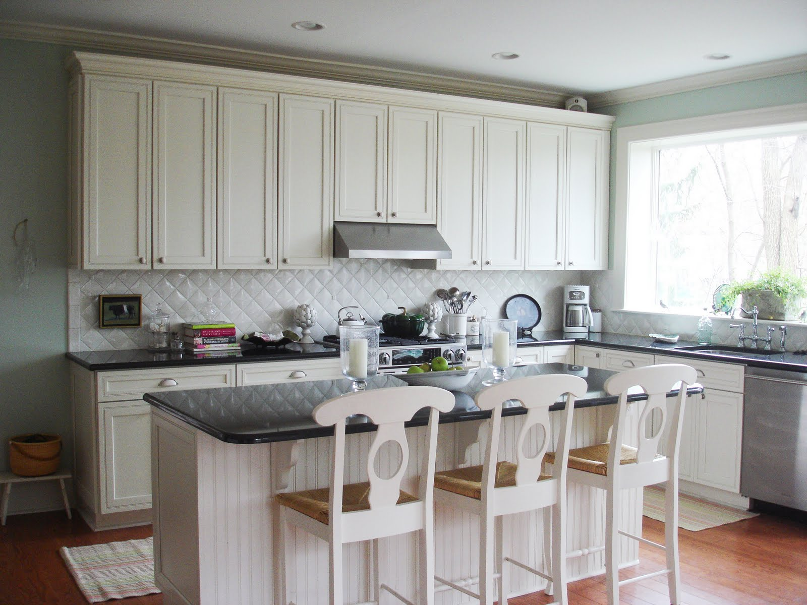Leslie S Lovely Baltimore Md Kitchen Is In A Renovated 1904 Home And Features Black Granite Counters Italian Pillowed Crackled Square Tile Backsplash