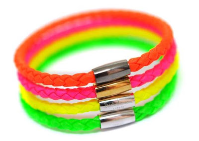 Bright coloured bracelets in neons