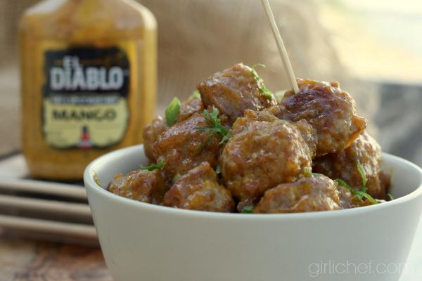 Sticky Mango Mustard Glazed Duck Meatballs #10DaysofTailgate #meatballs #duck | girlichef.com
