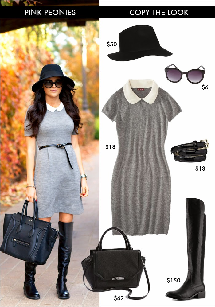 copy pink peonies look, peter pan collar dress, peter pan collar, fedora, how to wear fedora, fashion, style, forever21 sunglasses, target dresses, over the knee boots, how to wear over the knee boots