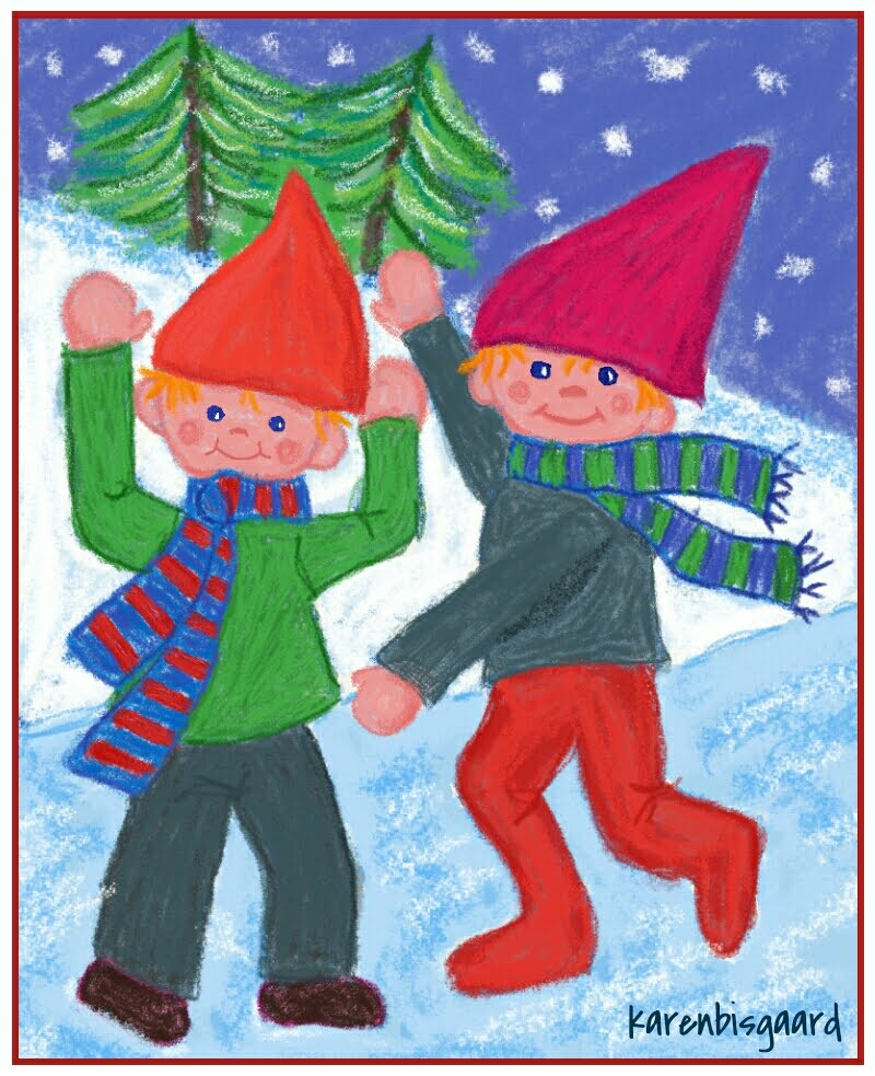 Link push the picture: Painted Postcards with Forest Gnomes.
