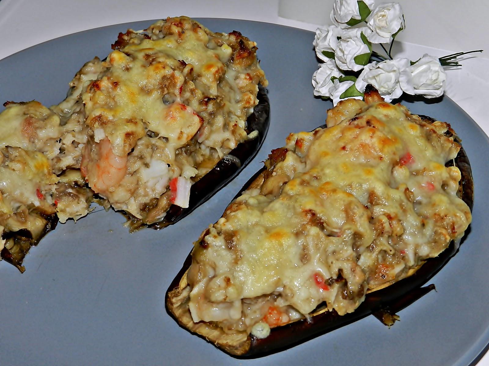 La cocina de vifran berenjenas rellenas de at n gambas y for Cocina berenjenas rellenas