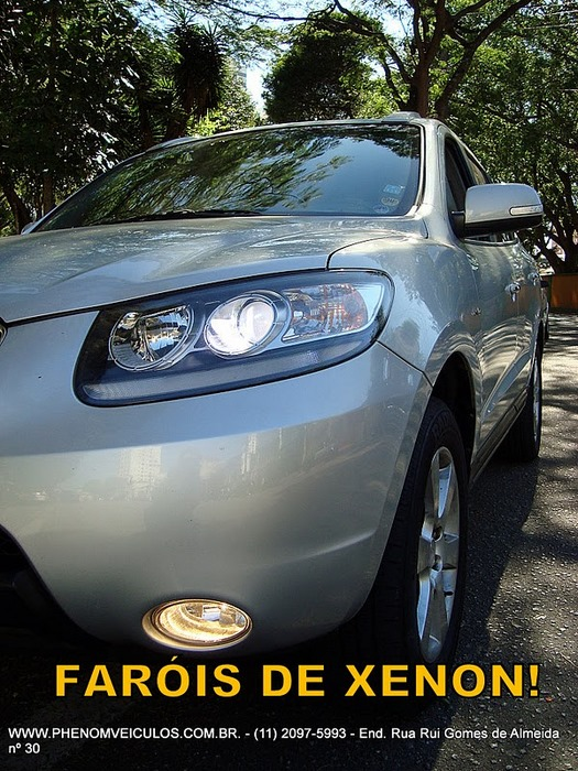 Hyundai Santa Fé 2008 prata - faróis xeon