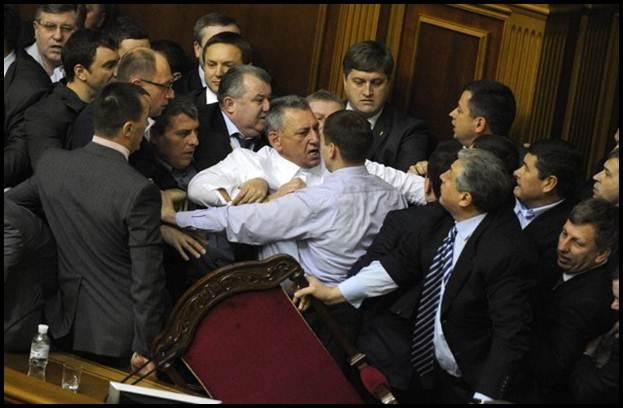 pergaduhan ahli parlimen di ukraine