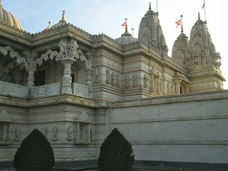 Sri Swaminarayan Mandir London front ornaments section.