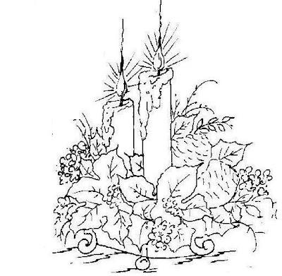 Desenhos de velas de natal para colorir.Dibujos navidenos.