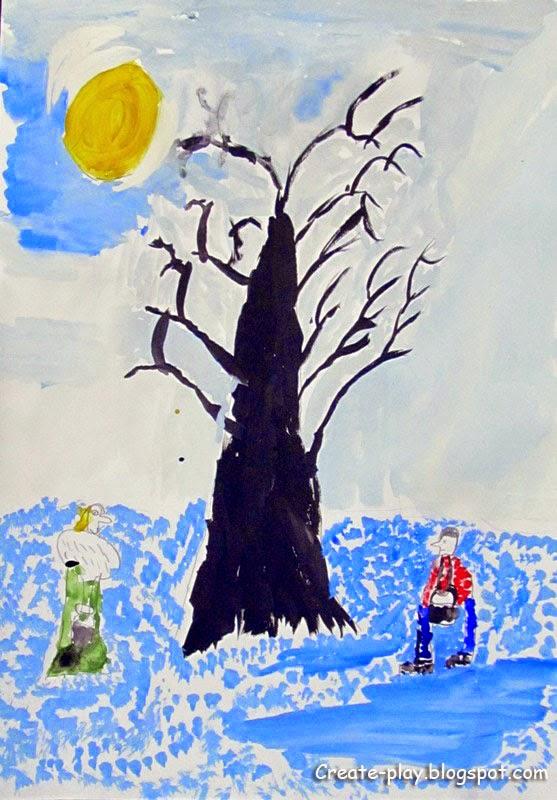 Зимние деревья рисуем экспериментируем
