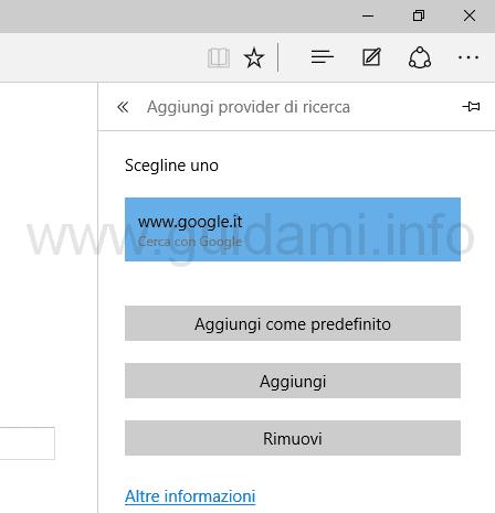 Aggiungere motore ricerca web predefinito Edge Windows 10