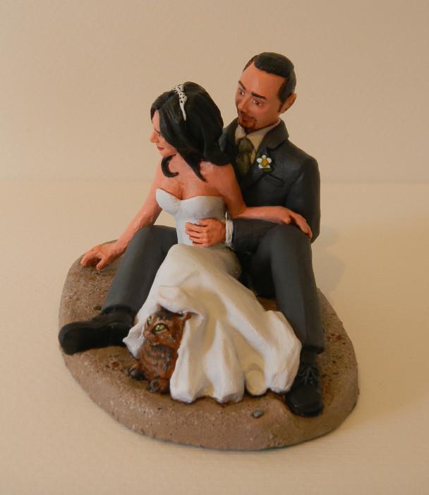 Matrimonio Tema Gatti : Orme magiche cake topper sposini sulla spiaggia finito