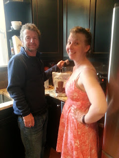 Trying Shakeology with my dad. The dress I'm wearing was really tight on day 1