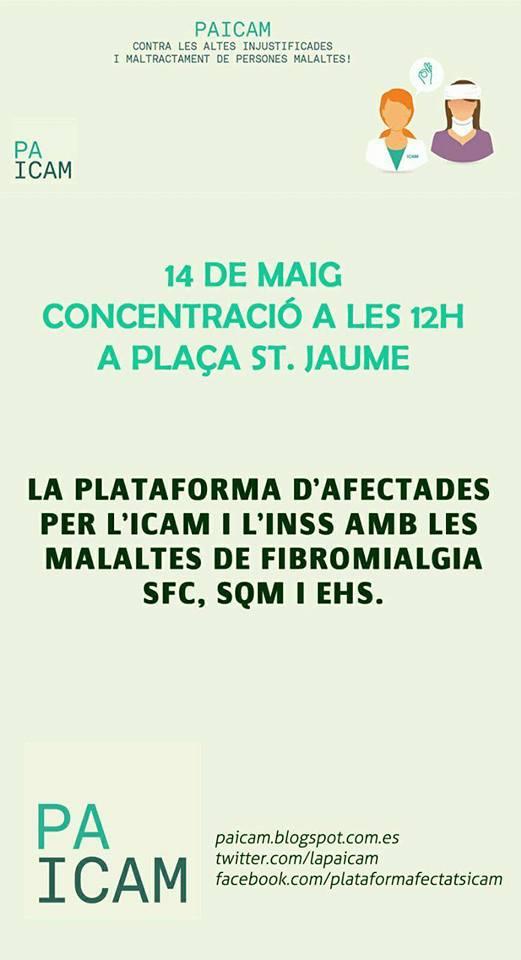 Concentración Plaça Sant Jaume 14 de Mayo a las 12 H